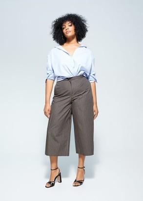 MANGO Violeta BY Check culottes pants brown - M - Plus sizes