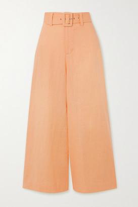 Faithfull The Brand Net Sustain Rose Cropped Belted Linen Wide-leg Pants - Pastel orange