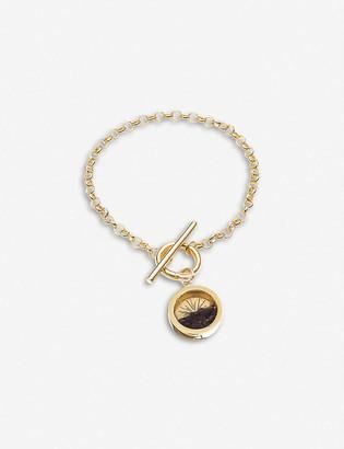 Rachel Jackson Sunburst 22-carat gold-plated sterling silver and garnet January amulet charm bracelet