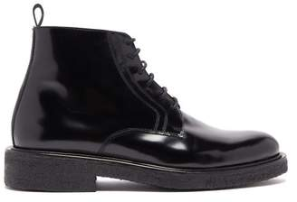 Ami Polished Lace Up Leather Boots - Mens - Black