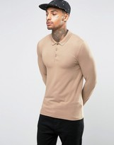 Asos Extreme Muscle Long Sleeve Polo In Tan