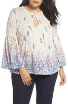 Lucky Brand Border Print Peasant Blouse