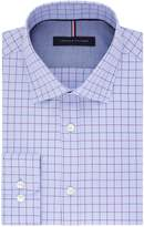 Tommy Hilfiger Men's Non Iron Slim Fit Windowpane Check Spread Collar Dress Shirt