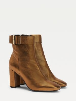 Tommy Hilfiger Metallic Square Toe High Heel Boots