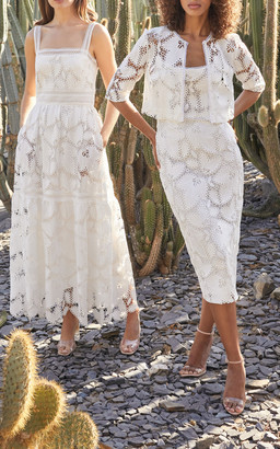 Monique Lhuillier Tiered Guipure Lace Maxi Dress