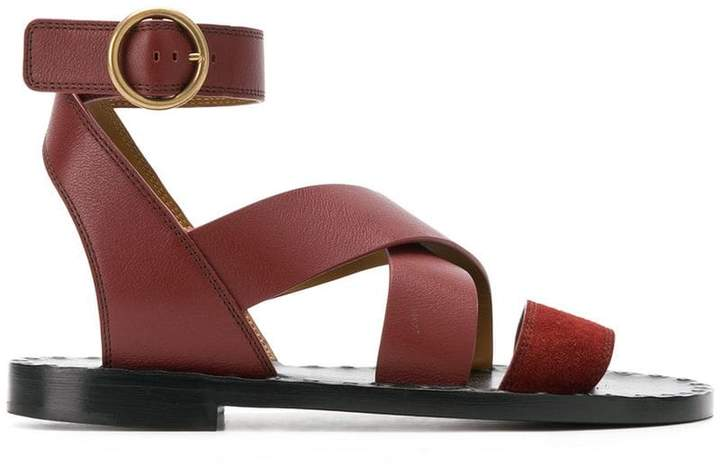 Chloé round toe ankle buckle sandals