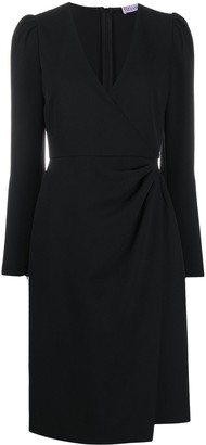 RED Valentino Wrap-Style Long-Sleeve Dress