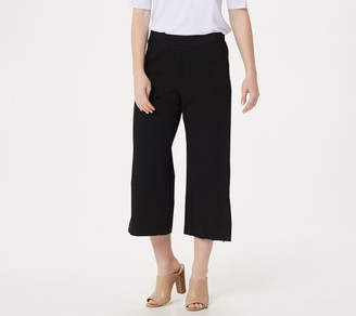 Halston H by Petite Ultra Knit Cropped Wide-Leg Pants with Front Vent