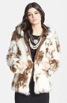 Lark Spot Print Hooded Faux Fur Coat