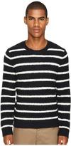 Vince Textured Striped Merino Blend Long Sleeve Crew Neck Sweater Men's Sweater