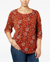 Style&Co. Style & Co. Plus Size Lace-Up Printed Top, Only at Macy's
