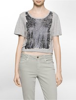Calvin Klein Foiled Puzzle Cropped T-Shirt