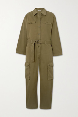Maje Belted Cotton-twill Jumpsuit