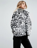 Helene Berman Faux Fur Leopard Print Collared Revere Coat
