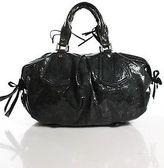 Francesco Biasia Blue Patent Leather Medium Satchel Handbag