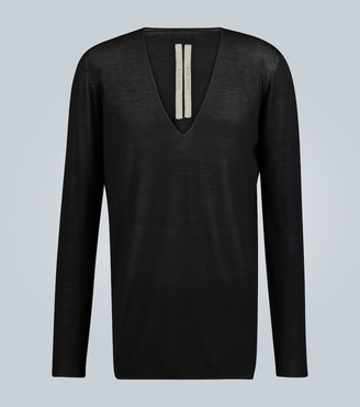 Rick Owens Oversized wool V-neck sweater