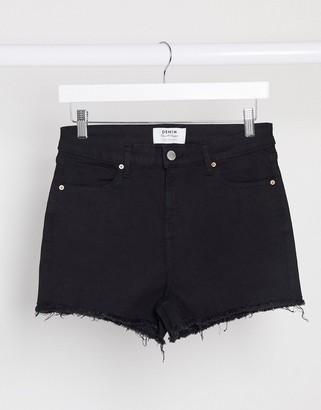 Miss Selfridge denim shorts in black