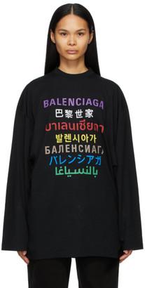 Balenciaga Black Languages Medium Fit T-Shirt