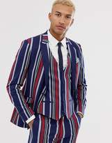Lockstock skinny suit jacket in bold stripe