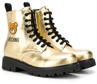 MOSCHINO BAMBINO TEEN Teddy lace-up boots
