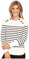 Vince Camuto Long Sleeve Stripe Sweater with Neck Button Trim