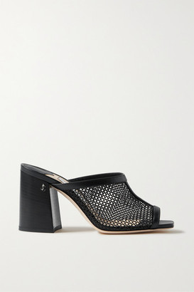 Jimmy Choo Joud 85 Mesh And Leather Mules - Black