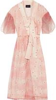Simone Rocha Polka-dot tulle and floral-printed crepe wrap midi dress