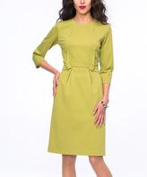 JET Olive Gathered-Waist Sheath Dress