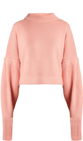 Tibi Bishop-sleeved cropped cashmere sweater