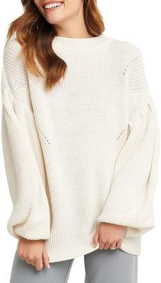 NA-KD Na Kd Balloon-Sleeve Crewneck Sweater