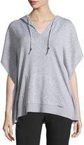 MICHAEL Michael Kors Hooded Short-Sleeve Poncho Sweater, Pearl Heather