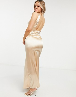 TFNC Bridesmaid satin maxi dress with deep plunge and low back in champagne
