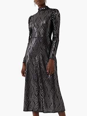 Warehouse Metallic Flame Dress, Silver