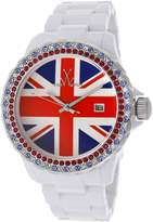 Toy Watch Toywatch Tuj04wh Women's White Resin Multi-Color Uk Flag Dial White Resin Watch