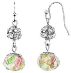 2028 Silver Tone Crystal Pink Flower Beaded Drop Wire Earring
