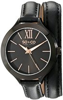 SO&CO New York Women's 5047.4 SoHo Stainless Steel Watch with Black Wraparound Leather Band