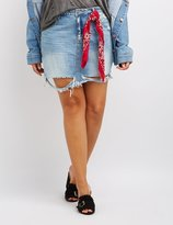 Charlotte Russe Plus Size Cello Destroyed Denim Skirt
