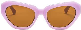 Dries Van Noten Cateye Sunglasses in Lilac, Silver & Brown | FWRD