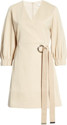 Tibi Grommet Detail Faux Wrap Dress