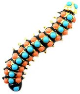 Kenneth Jay Lane Blue & Coral Stone Caterpillar Brooch Pin