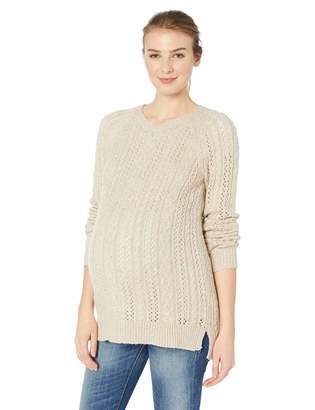 Motherhood Maternity Women's Maternity Long Sleeve Crew Neck Cable Knit Sweater