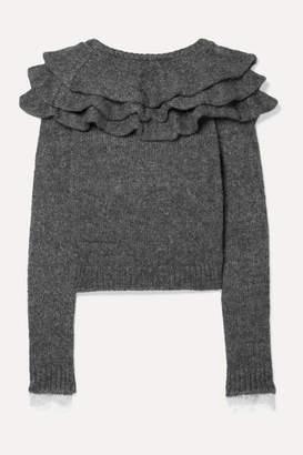 Philosophy di Lorenzo Serafini Ruffled Lace-trimmed Knitted Sweater - Gray