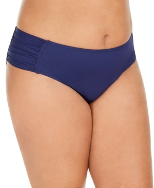 Becca Etc Plus Size Solid Color Code Hipster Bottoms Women's Swimsuit