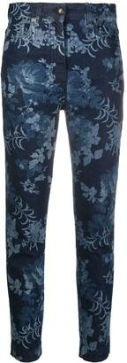 Etro Denim Floral Print Cropped Jeans