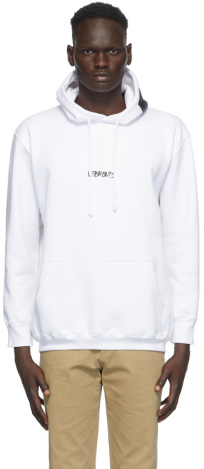 Vetements White Written Logo Hoodie