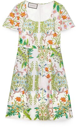 Gucci New Flora print cotton midi dress