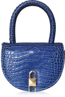 Croco Salar Winnie Embossed Leather Light Blue Top Handle Bag