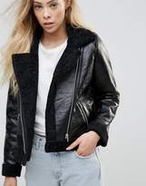 Goldie Rocky Faux Leather Cropped Jacket With Faux Fur Lining And Metal Zippers