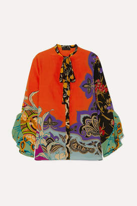 Etro Pussy-bow Printed Silk Crepe De Chine Blouse - Coral