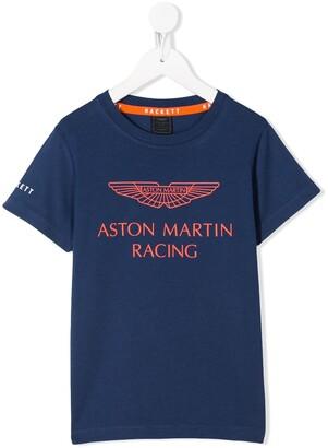 Hackett Kids x Aston Martin logo print T-shirt